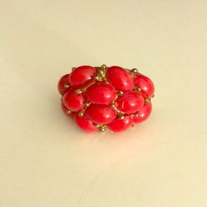 Jewelry - Ladies' Costume Gold and Coral Ring Size 8